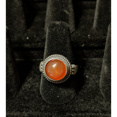 Medieval Ring - 10mm Carnelian and Silver - Adjustable