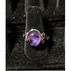 Medieval Ring - 10x12mm Amethyst and Silver - Adjustable