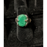 Medieval Ring - 10x14mm Emerald and White Gold - Adjustable
