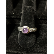 Medieval Ring - 5mm Amethyst and Silver - Adjustable