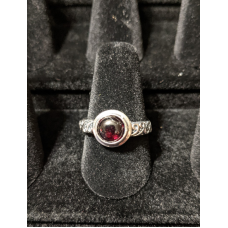 Medieval Ring - 7mm Garnet and Silver - Adjustable