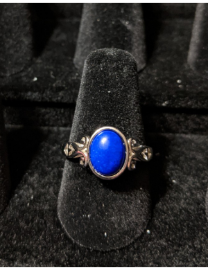 Medieval Ring - 7x9mm Lapis Lazuli and Silver - Adjustable