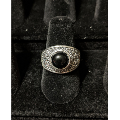 Medieval Ring - 8mm Onyx and Silver - Adjustable