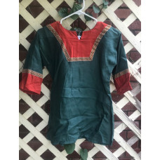 Boy's AS Tunic - S/6-8 Emerald Green and Pumpkin