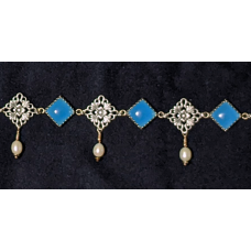 Burgundian Collar - Blue Chalcedony and Silver