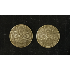 Round Shield Viking Brooch Pair - Brass