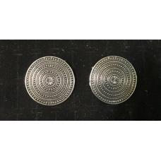 Round Shield Viking Brooch Pair - Silver
