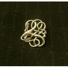 Zoomorphic Dragon Viking Brooch - Gold