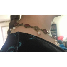 Burgundian Collar - Red Onyx and Brass