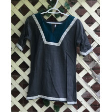 Girl's AS Overtunic - M/10 Charcoal and Teal