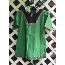 Girl's AS Overtunic - S/6-8 Kelly Green and Brown