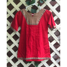 Girl's AS Overtunic - S/6-8 Red and Light Brown