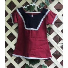Girl's AS Overtunic - XXS/2T Dark Red and Navy