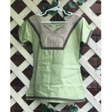 Girl's AS Overtunic - XXS/2T Light Green and Tan