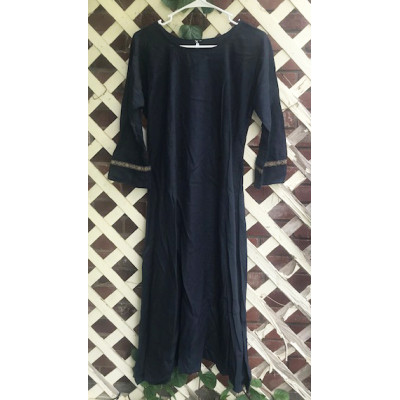 "Girl's AS Undertunic - L 12 Navy Blue 44"" Linen"
