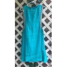 Girl's Surcoat - M/10 Turquoise Linen