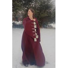 Women's Houppelande - Dark Red Brocade - Size 20