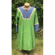 Men's AS Tunic - M Apple Green and Grey-Blue Linen