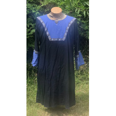 Men's AS Tunic - M Navy and Medium Blue Linen