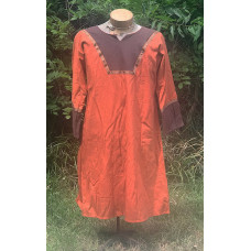Men's AS Tunic - M Orange and Brown Linen