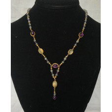 Late Medieval Necklace - Amethyst and Moonstone 2