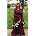 Woman's Houppelande - Dark Red Brocade - Size 20