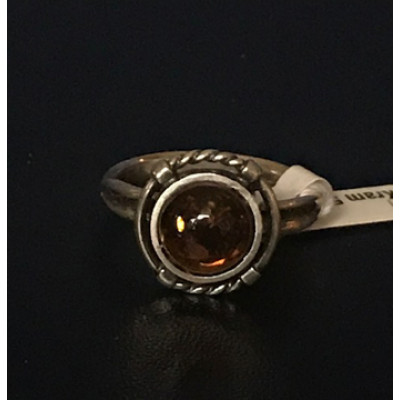 Medieval Ring - 8mm Polish Amber and Silver - Size 7