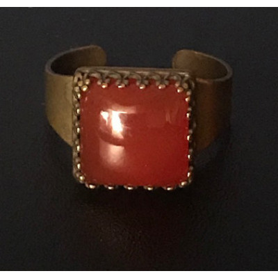Medieval Ring - 10mm Red Onyx and Brass