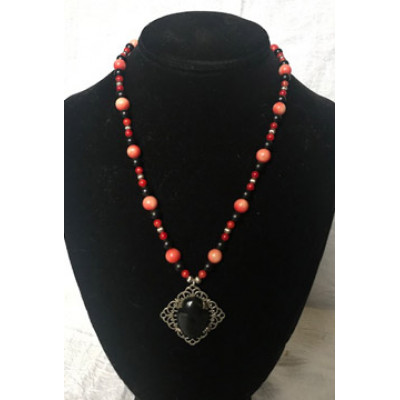 Italian Renaissance Necklace - Red Coral and Jet