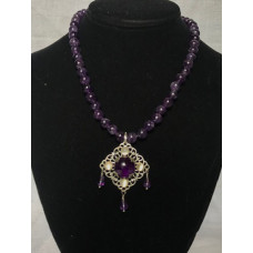 Triple Drop Italian Renaissance Necklace - Amethyst and Moonstone