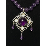Triple Drop Italian Renaissance Necklace - Amethyst and Moonstone