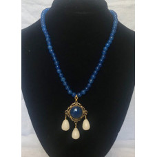 Triple Drop Italian Renaissance Necklace - Blue Adventurine