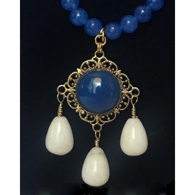 Triple Drop Italian Renaissance Necklace - Blue Adventurine