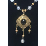 Triple Drop Italian Renaissance Necklace - Blue Chalcedony and Onyx