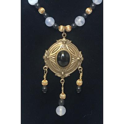 Triple Drop Italian Renaissance Necklace - Blue Chalcedony and Onyx