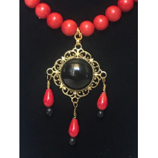 Triple Drop Italian Renaissance Necklace - Red Coral