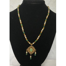 Triple Drop Italian Renaissance Necklace - Jade and Pearl