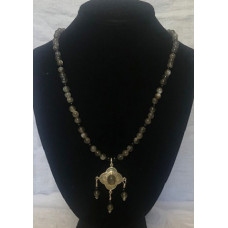Triple Drop Italian Renaissance Necklace - Grey Moonstone and Onyx