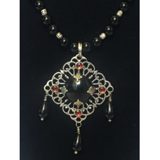 Triple Drop Italian Renaissance Necklace - Onyx and Garnet