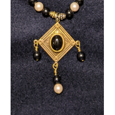Triple Drop Italian Renaissance Necklace - Onyx and Antique Pearl
